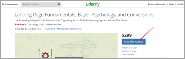 uDemy example of landing pages