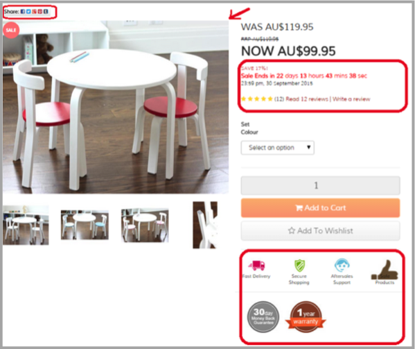 Poor product page as example of SEO campaign