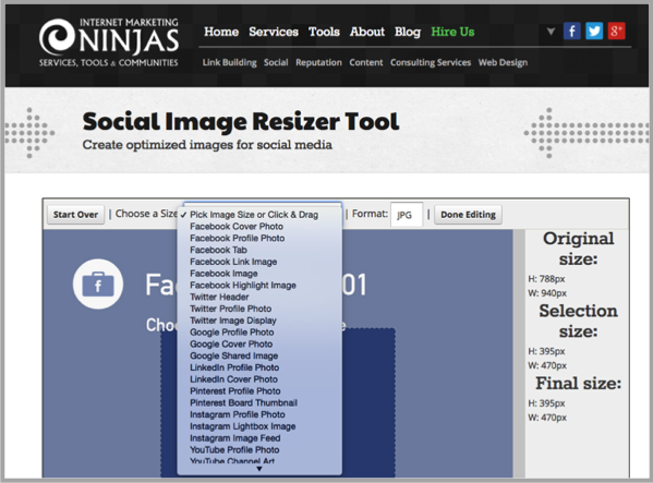 Social image resizer blogging tools for custom content