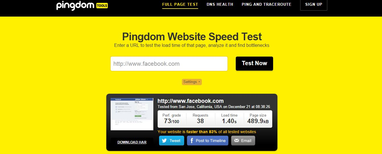 website page speed test - pingdom