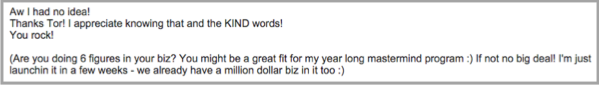 Email response for blogger outreach