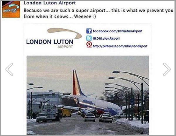 London Luton airport - example of Facebook marketing mistakes