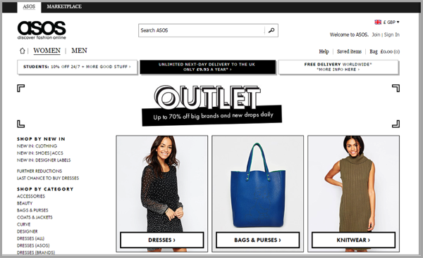 ASOS example of how to make your website awesome