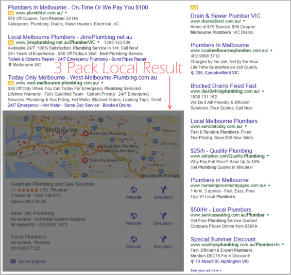 Click throughs example 2 for SEO for local businesses