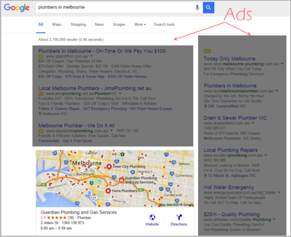 Click throughs on SEO for local businesses