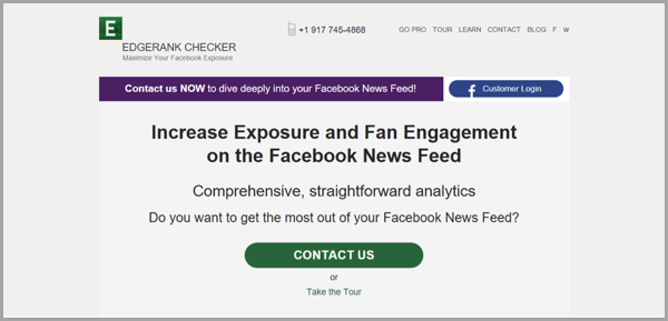 Edgerank checker - example of social media management tools
