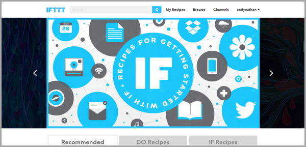 IFTT - example of social media management tools