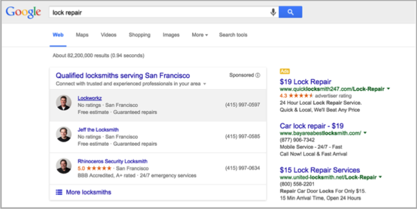 Lock repair example for SEO for local businesses
