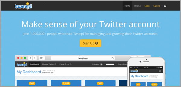 Tweepi - example of social media management tools