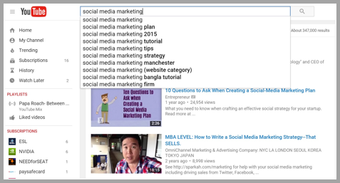 Youtube search example to optimize your social media posts for search engines