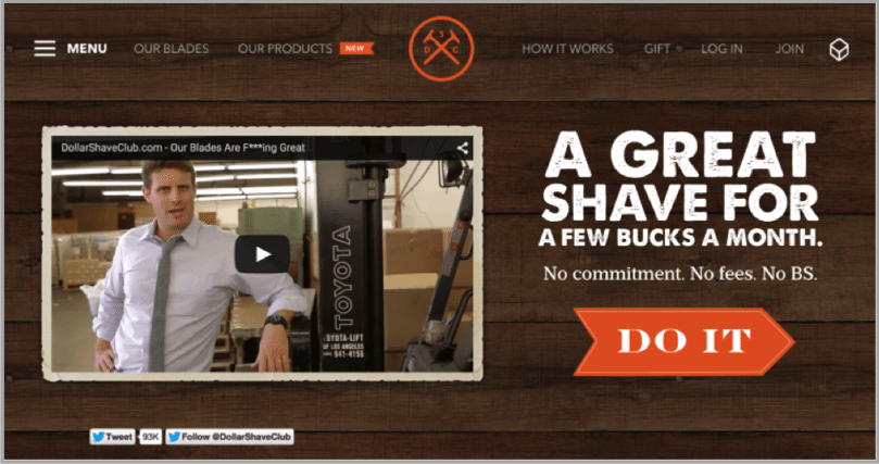 Dollar Shave club - grow your startup with social media