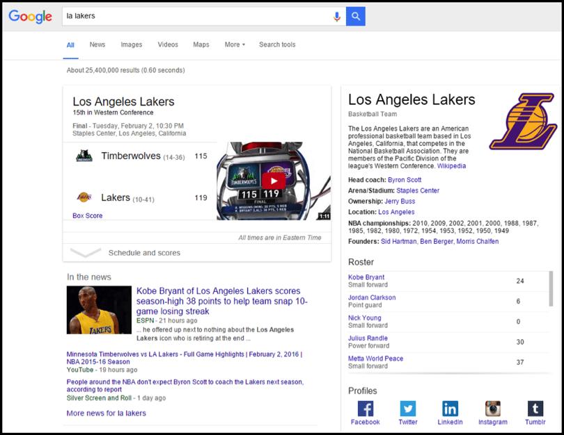 LA Lakers Google 2 - trend for SEO in 2016