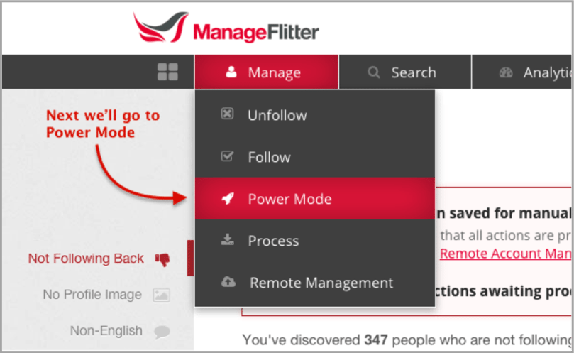 ManageFlitter Powermode - Twitter apps example