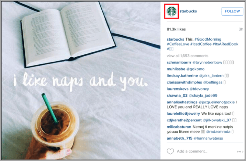 Starbucks profile - how to build an instagram following