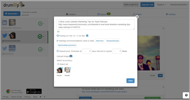 Content discovery and scheduling tools like DrumUp edit the post image for marketing automation