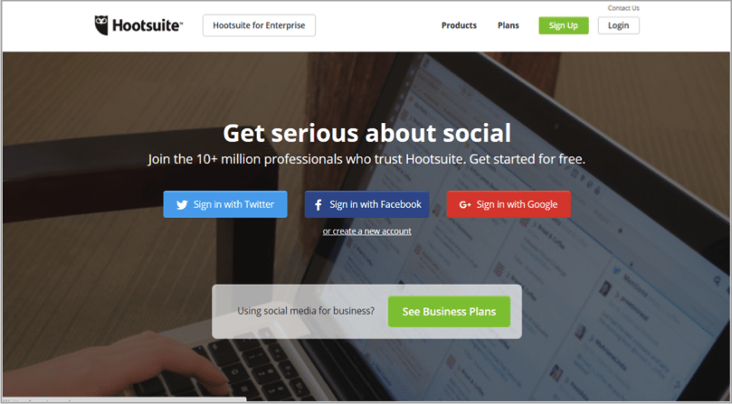 Hootsuite visual example for driving traffic to your website