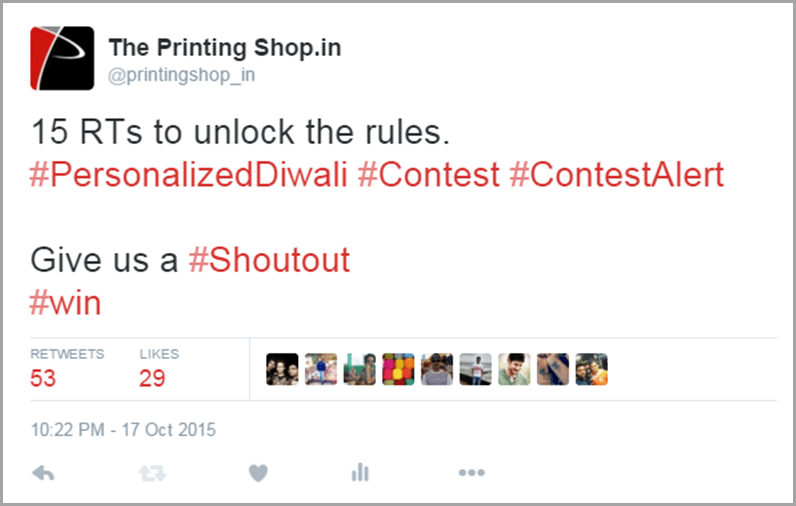 The Printing Shop make them unlock the contest image for get social media traffic