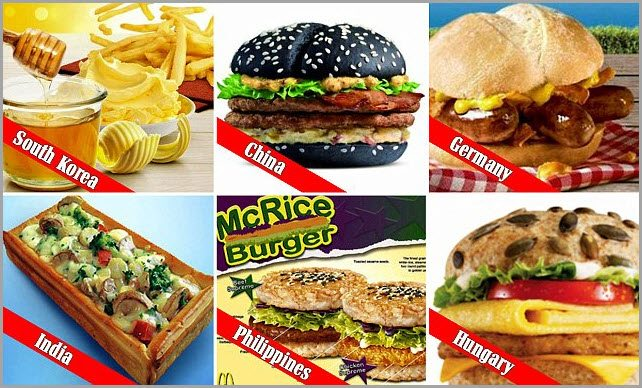 Various burgers from different countries for target customer