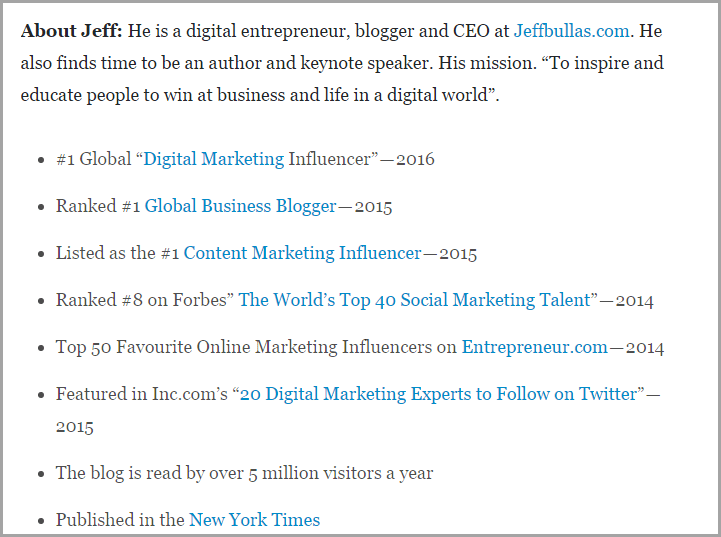 jeff bullas proof of expertise for LinkedIn Publisher Mistakes