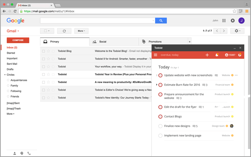 todoist for email for inbox productivity