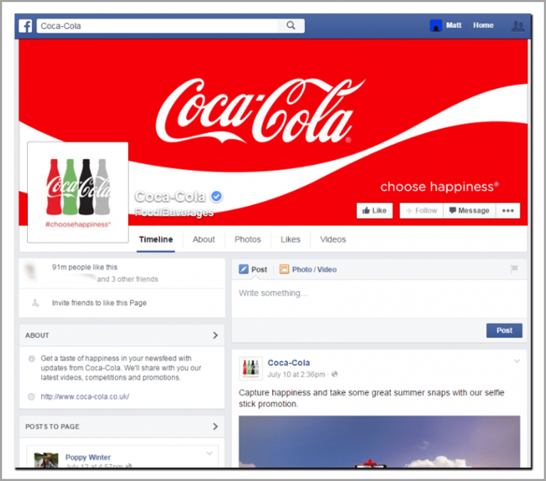 Coca Cola desktop view