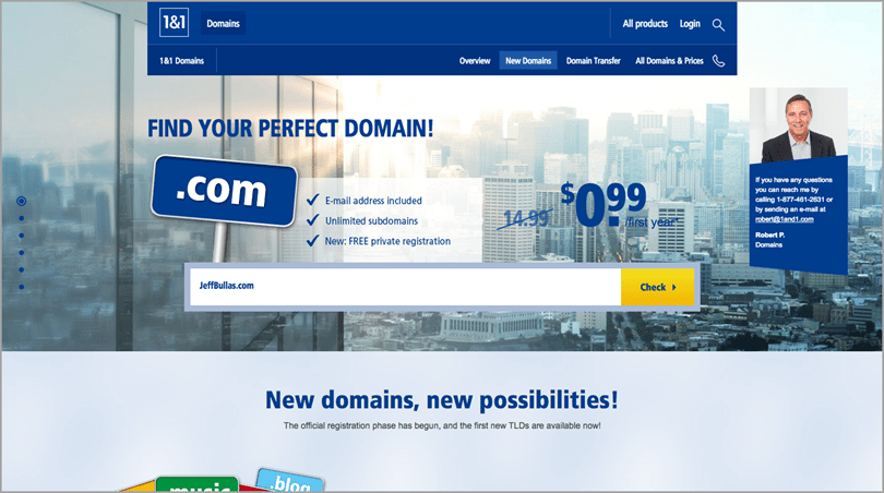 1&1 domain search screenshot for choosing the perfect name for your blog