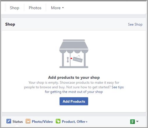 Магазин-магазин для страниц Facebook