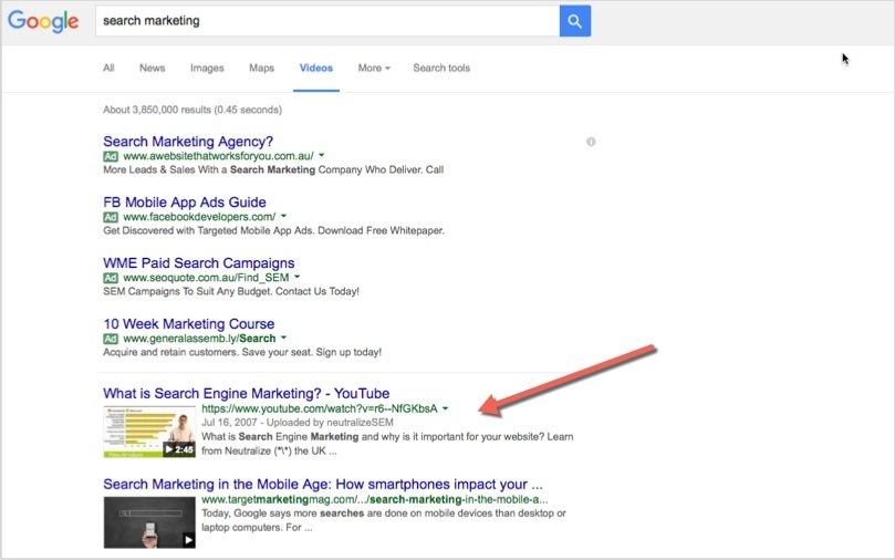 Google video search marketing