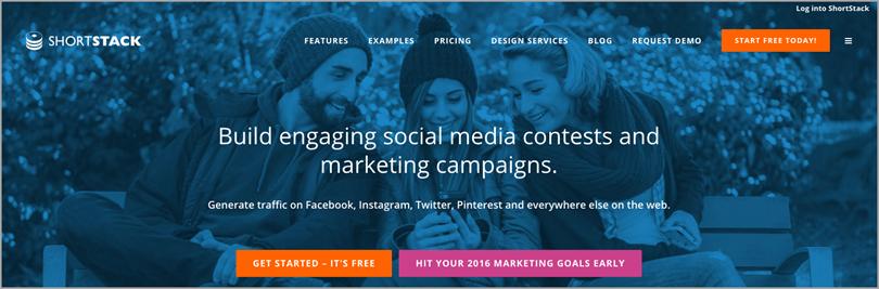 Shortstack for social media contest