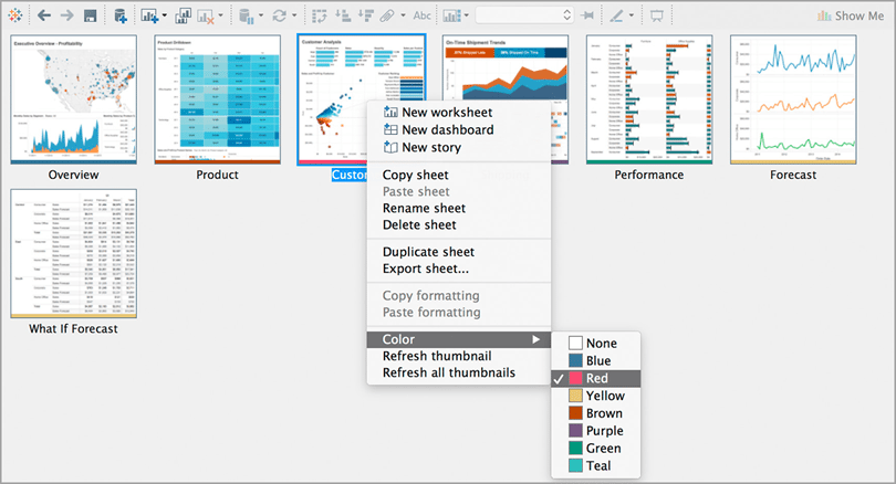 Tableau for imaging tools