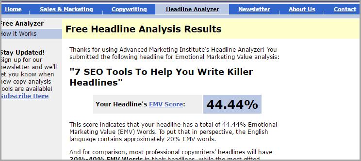 SEO Tool: Emotional Marketing Value Headline Analyzer