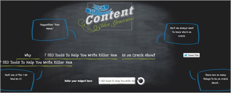 SEO Tool: Portent's Content Idea Generator