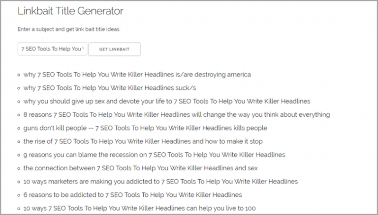 SEO Tool: LinkBait Title Generator