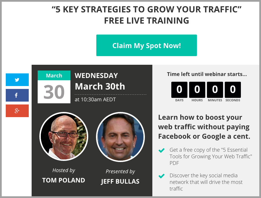 Leadpages webinar landing page with Tom Poland