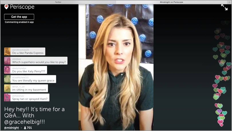 Live Q&A with customers for Periscope brand