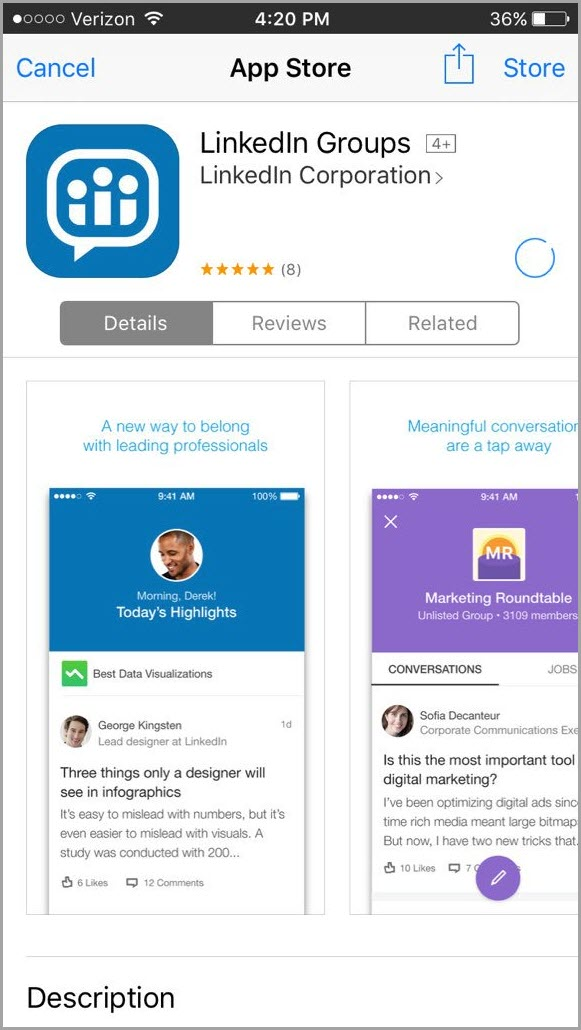 new app available for LinkedIn group for changes to Linkedin groups