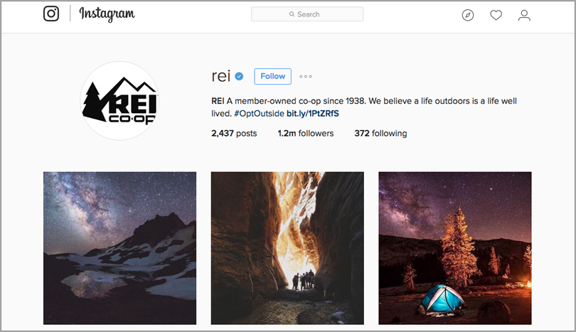 a post from REI's Instagram account for leverage user-generated content