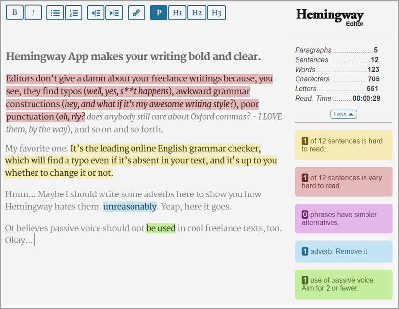 Hemingway for blogging tools