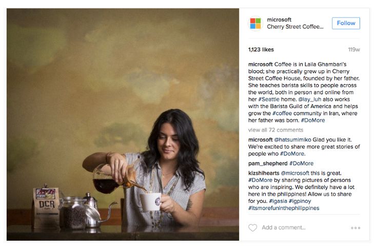Microsoft's Instagram channel