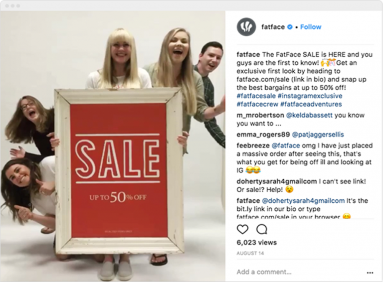 Example of using discounts on Instagram - FatFace