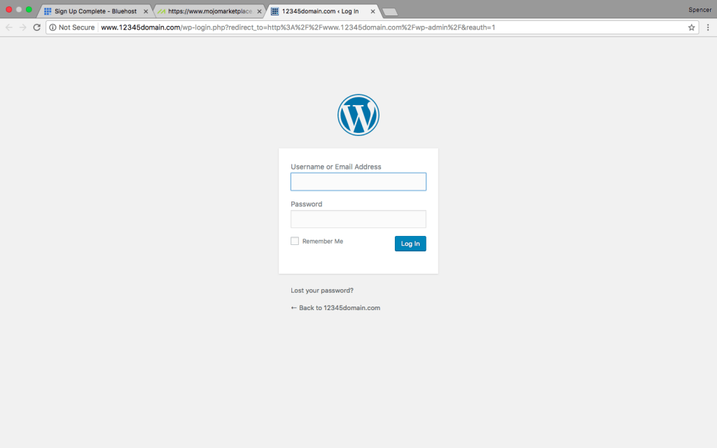 Start a Blog: WordPress Login