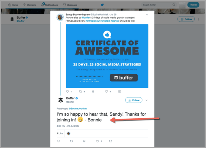 for example the team at buffer do a great job of empowering their employees to be the face of their brand on twitter by adding a personalized sign off to - Using Social Media For Branding Yourself Promoting Yourself And Finding A Great Job