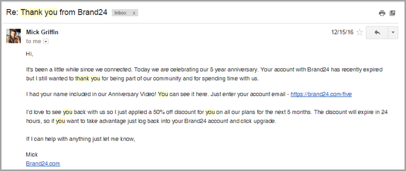 writing a thank you email