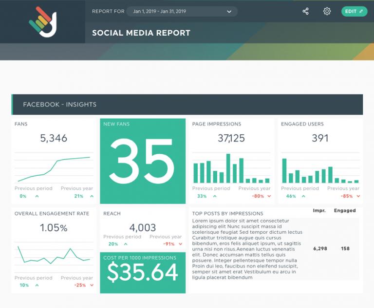 Social media dashboard - DashThis