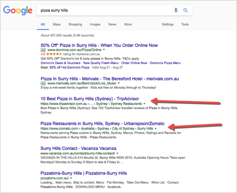 how to make website appear with menu search result