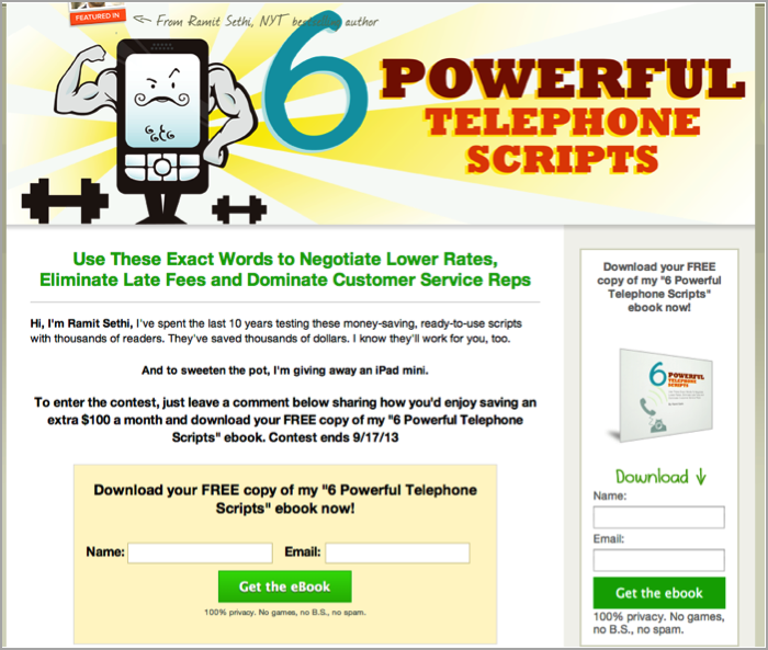 first 100 email subscribers - landing page