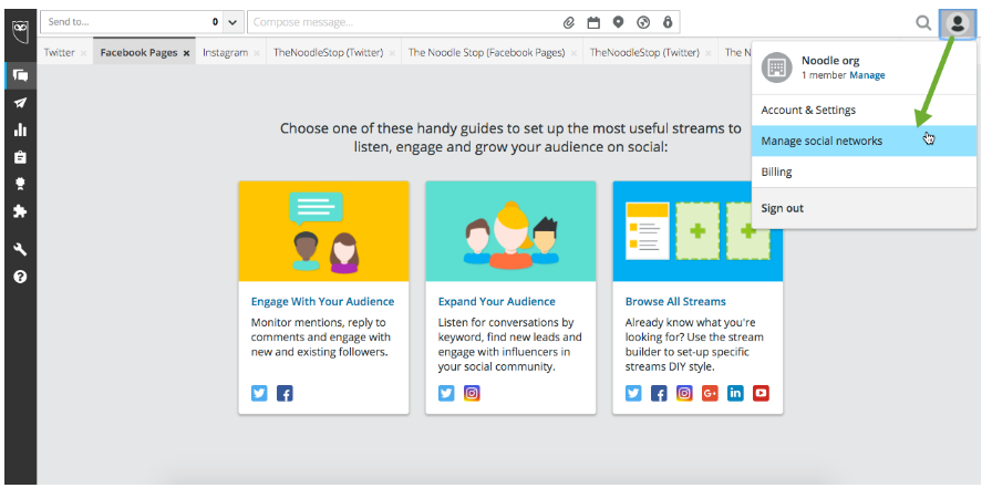 HootSuite Dashboard Navigation