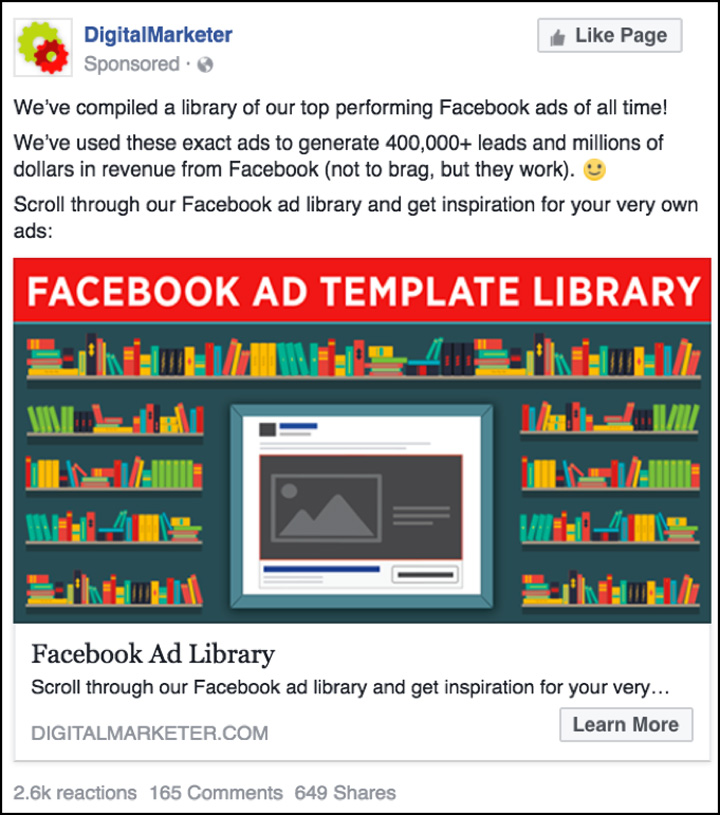 Examples Of High Performing Facebook Ads That Drive Leads And Sales - Digital marketer facebook ad template