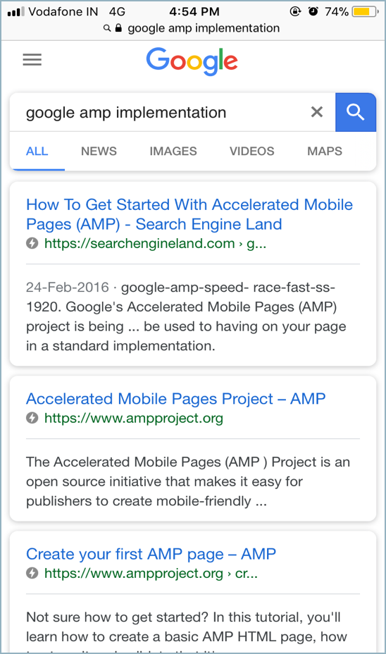 Google AMP Screen