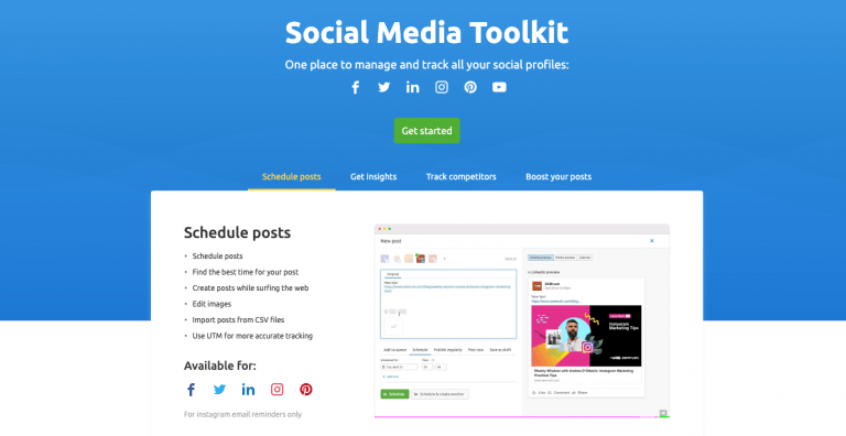 SEMrush social media management tool